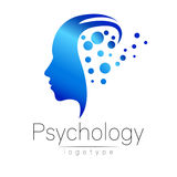 Logo capo moderno di psicologia Essere umano di profilo Stile creativo illustrazione di stock