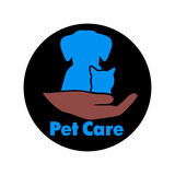 Logo care of animals, symbol of protection of vagrant animals. Stock Photo