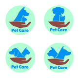 Logo care of animals, symbol of protection of vagrant animals. Stock Photos