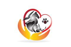 Logo caring pets veterinary business card vector illustration