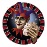 The logo for the casino, the Joker with a deck of cards. Illustration for the casino, the Joker, in a circle, holding a deck of playing cards Stock Photography