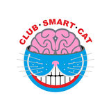 Logo cat. Club smart Cat. Animal and brain. Emlema for pet lover. S. Vector illustration Royalty Free Stock Images