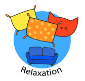 Logo. Cat House. Relaxation Royalty Free Stock Photo