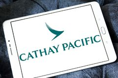 Cathay pacific airways logo. Logo of cathay pacific airways on samsung tablet Royalty Free Stock Photo