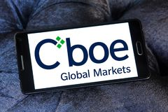 Cboe Global Markets logo. Logo of Cboe Global Markets on samsung mobile. Cboe Global Markets is an American company that owns the Chicago Board Options Exchange Stock Photos