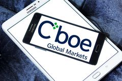Cboe Global Markets logo. Logo of Cboe Global Markets on samsung mobile. Cboe Global Markets is an American company that owns the Chicago Board Options Exchange Royalty Free Stock Photography
