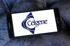 Celgene Biotechnology company. Logo of Celgene company on samsung mobile. Celgene Corporation is an American biotechnology company that discovers, develops and Stock Image