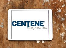 Centene Corporation logo. Logo of Centene Corporation on samsung tablet on wooden background. Centene Corporation is a large publicly-traded company and a stock photo