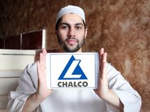 Aluminum Corporation of China Limited, Chalco logo. Logo of Chalco company on samsung tablet holded by arab muslim man. Aluminum Corporation of China Limited Stock Image