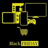 Logo chaud noir d'icône de concept de ventes de vendredi avec TV, téléphone portable, affaires chaudes de micro-onde illustration de vecteur