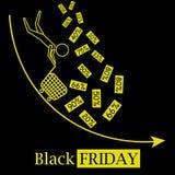Logo chaud noir d'icône de vecteur de concept de ventes de vendredi avec des remises en baisse et fond noir illustration libre de droits