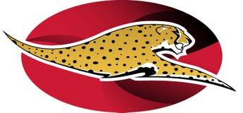 Logo cheetah. Digital illustration: wild cheetah on red background royalty free illustration