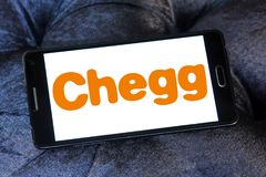 Chegg education technology company logo. Logo of Chegg company on samsung mobile. Chegg, Inc. is an American education technology company specialize in online royalty free stock image