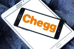 Chegg education technology company logo. Logo of Chegg company on samsung mobile. Chegg, Inc. is an American education technology company specialize in online stock images