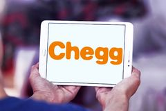 Chegg education technology company logo. Logo of Chegg company on samsung tablet. Chegg, Inc. is an American education technology company specialize in online royalty free stock photos