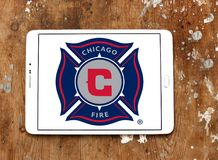 Chicago Fire Soccer Club logo. Logo of Chicago Fire Soccer Club on samsung tablet. Chicago Fire Soccer Club is an American professional soccer club Royalty Free Stock Image