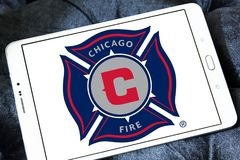 Chicago Fire Soccer Club logo. Logo of Chicago Fire Soccer Club on samsung tablet. Chicago Fire Soccer Club is an American professional soccer club Stock Images