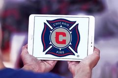 Chicago Fire Soccer Club logo. Logo of Chicago Fire Soccer Club on samsung tablet. Chicago Fire Soccer Club is an American professional soccer club Royalty Free Stock Images