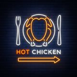Logo Chicken Barbecue is a neon-style logo for a food store and a restaurant. Neon sign, night bright advertising Royalty Free Stock Photo