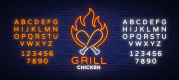 Logo Chicken Grill emblem, neon-style sign for food store, restaurant. Neon sign, glowing banner, nocturnal bright Royalty Free Stock Images