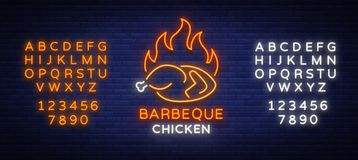 Logo Chicken Barbecue is a neon-style logo for a food store and a restaurant. Neon sign, night bright advertising Royalty Free Stock Photos