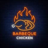 Logo Chicken Barbecue is a neon-style logo for a food store and a restaurant. Neon sign, night bright advertising Stock Image