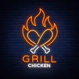 Logo Chicken Grill-Emblem, Neon-Ähnliches Zeichen für Lebensmittelgeschäft, Restaurant Leuchtreklame, glühende Fahne, nächtliches lizenzfreie abbildung