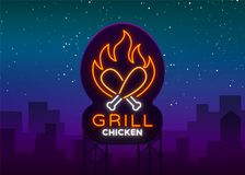 Logo Chicken Grill emblem, neon-style sign for food store, restaurant. Neon sign, glowing banner, nocturnal bright. Advertisement chicken barbecue. Vector Stock Photography