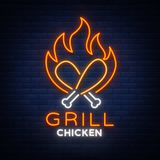 Logo Chicken Grill emblem, neon-style sign for food store, restaurant. Neon sign, glowing banner, nocturnal bright. Advertisement chicken barbecue. Vector Stock Photos