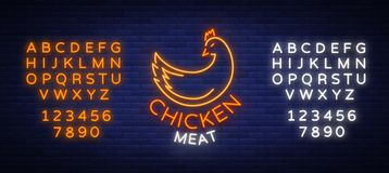 Logo Chicken meat, emblem, sign in neon style isolated, vector illustration. Neon banner, bright neon sign, glowing. Night advertisement, chicken meat, barbecue Royalty Free Stock Image