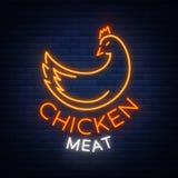 Logo Chicken-vlees, embleem, teken in neonstijl, vectorillustratie Neonbanner, helder neonteken, het gloeien stock illustratie