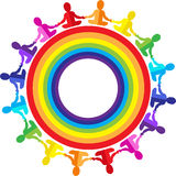 Logo. Children, babies sitting in a rainbow circle Stock Photo
