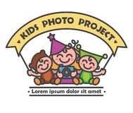 Logo children photo project vector illustration