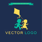 Logo Children run and play with a kite, vector Royalty Free Stock Photography
