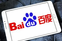 Baidu logo. Logo of the Chinese-American web services company Baidu on samsung tablet stock photos