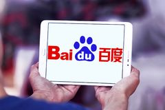 Baidu logo. Logo of the Chinese-American web services company Baidu on samsung tablet stock image