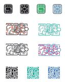 Logo chip processor. Chip, electronic circuit, processor. Vectorial illustration. Eps file available Stock Image
