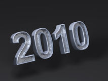 Logo Chrome 2010. It's a 3D picture of a 2010 chrome logo with crystal effect inside letters Royalty Free Stock Photos