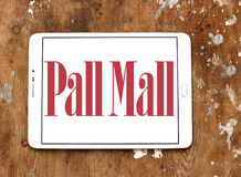 Pall mall cigarettes company logo. Logo of cigarettes company pall mall on samsung tablet on wooden background royalty free stock image