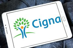 Cigna health organization logo. Logo of Cigna health organization on samsung tablet . Cigna is an American worldwide health services organization royalty free stock photo