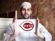 Cincinnati Reds baseball Club logo. Logo of Cincinnati Reds baseball Club on samsung tablet holded by arab muslim man. The Cincinnati Reds are an American royalty free stock image