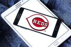 Cincinnati Reds baseball team logo. Logo of Cincinnati Reds team on samsung mobile. The Cincinnati Reds are an American professional baseball team stock photo