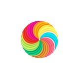 logo circulaire coloré abstrait du soleil Logotype d'arc-en-ciel de forme ronde illustration de vecteur