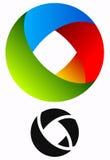 Logo circulaire coloré pour des concepts de technologie avec des vers de découpe Photos stock