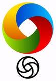Logo circulaire coloré pour des concepts de technologie avec des vers de découpe Images libres de droits