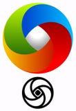 Logo circulaire coloré pour des concepts de technologie avec des vers de découpe Photographie stock libre de droits