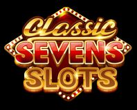 Logo classic sevens slots for game. Vector illustration Royalty Free Stock Image