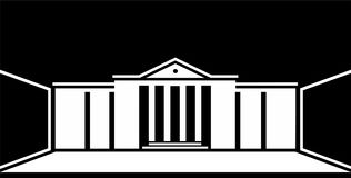Logo classical building in vector. Logo classical architecture in vector. Symmetrical building with columns, white lines on a black background, perspective Stock Photo