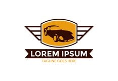 Logo classique unique et exceptionnel de voiture Illustration de vecteur editable illustration stock