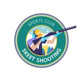 Shooting Skeet. Vector logo, logo, sports club. Logo clay pigeon shooting. Athlete shooter aims with a gun. Round emblem Royalty Free Stock Image